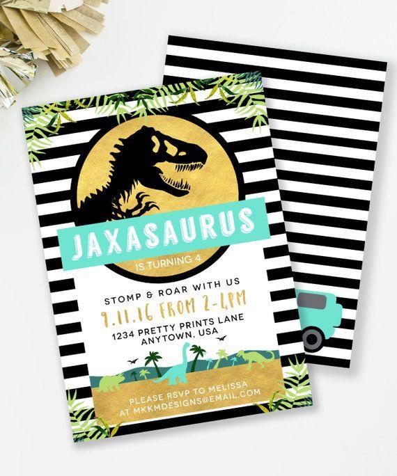 Jurassic Birthday Invitation Dinosaur Party Boys TREX Invite Park Inspired In
