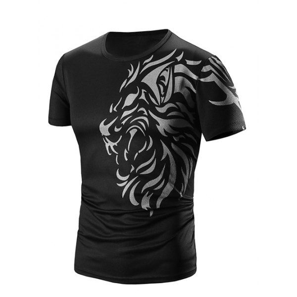 $7.40 Round Neck Printed Short Sleeve T-Shirt For Men