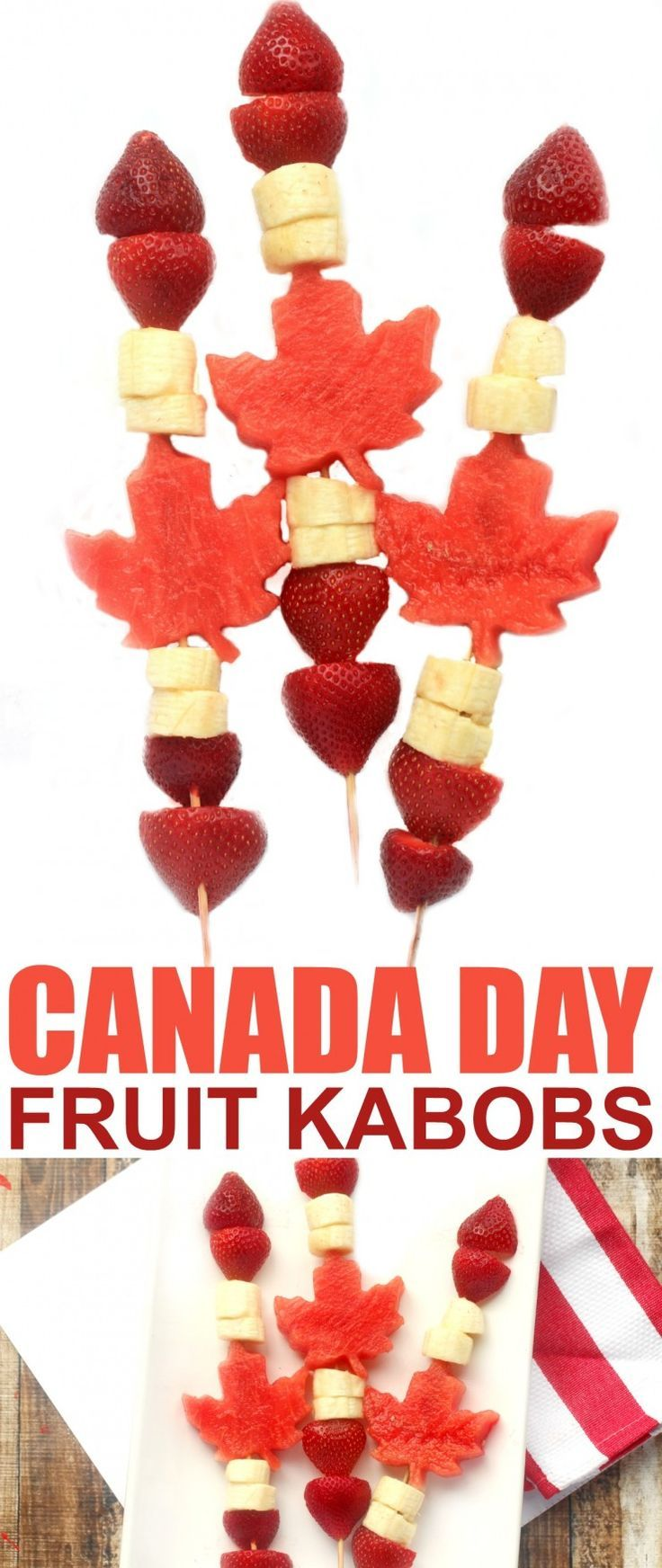 Celebrate Canada Day with this fun and healthy patriotic Canada Day Fruit Kabobs. They are super easy to put together and everyone will love eating them. A perfect addition to your Canada Day celebrations!: