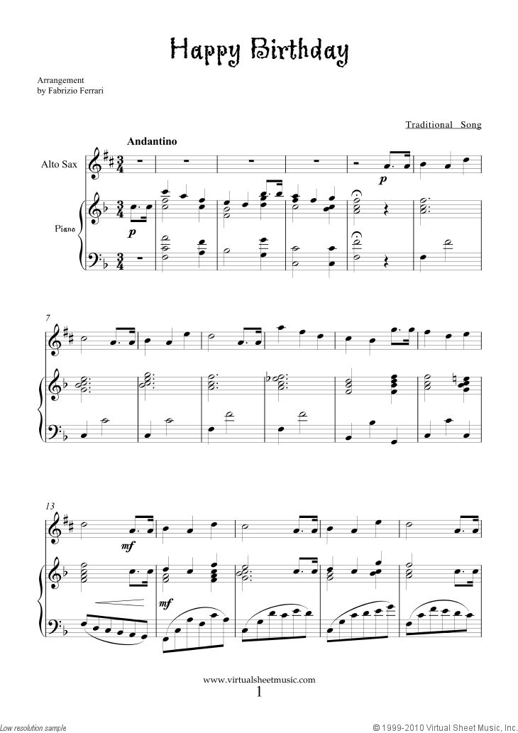 Alto Sax Easy Songs | Happy Birthday for alto saxophone and piano, free sheet music