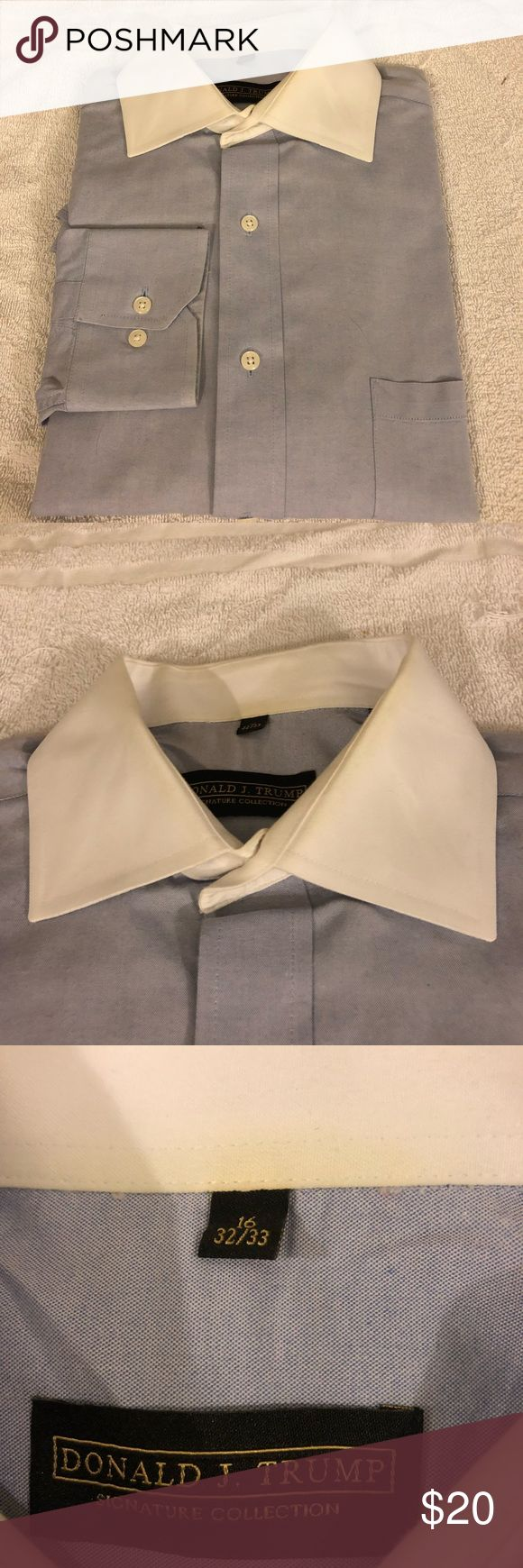 Donald Trump Blue French Cuff Shirt 16 32/33 Donald Trump Solid Blue with White Collar French Cuff Dress Shirt size 16 32/33! Great condition!  Please make reasonable offers and bundle! Ask questions :) Donald Trump Shirts Dress Shirts