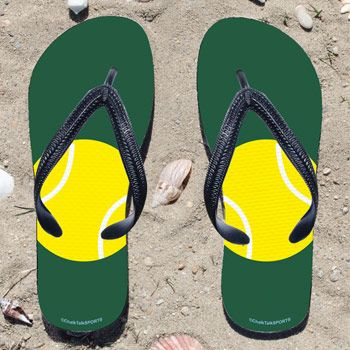 Tennis Ball on Green Flip Flops - Kick back after a match with these great flip flops! Fun and functional flip flops for all tennis players and fans.