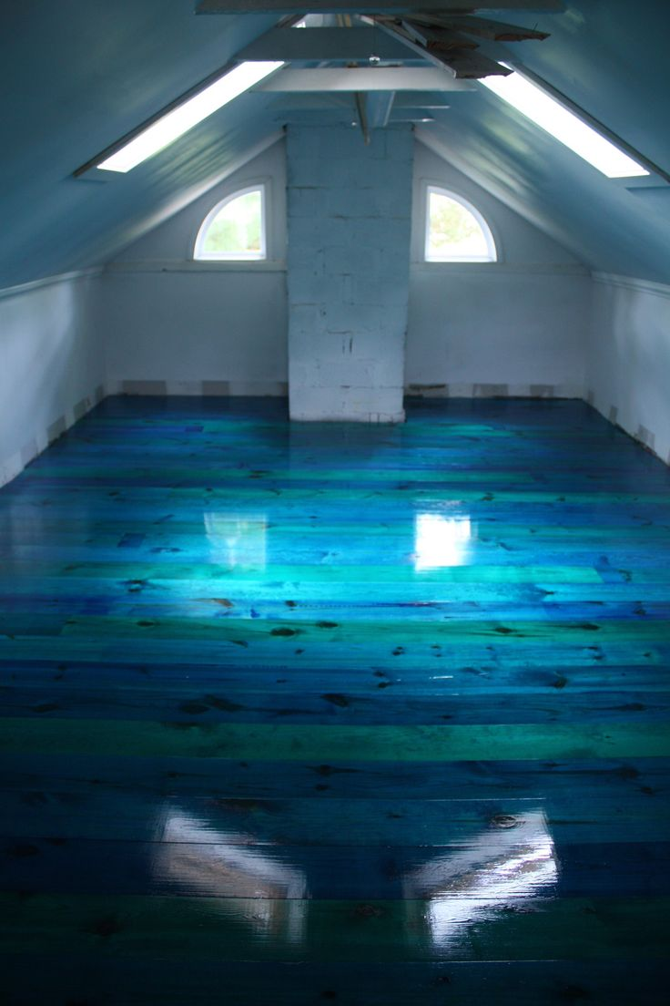 "There is this tint called Mixol that you just pour into the polyurethane, and it comes out in amazing colors."" I LOVE this floor! What a great idea for something different on wood floors! Want for my bathroom!"