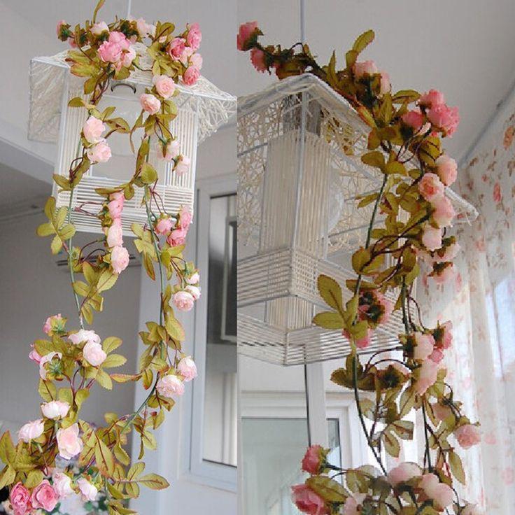 Wedding decoration Vintage Retro Artificial Flower Silk Rose Fake Flower Vine DIY Hanging Garland Wedding Home Xmas Decor Rattan