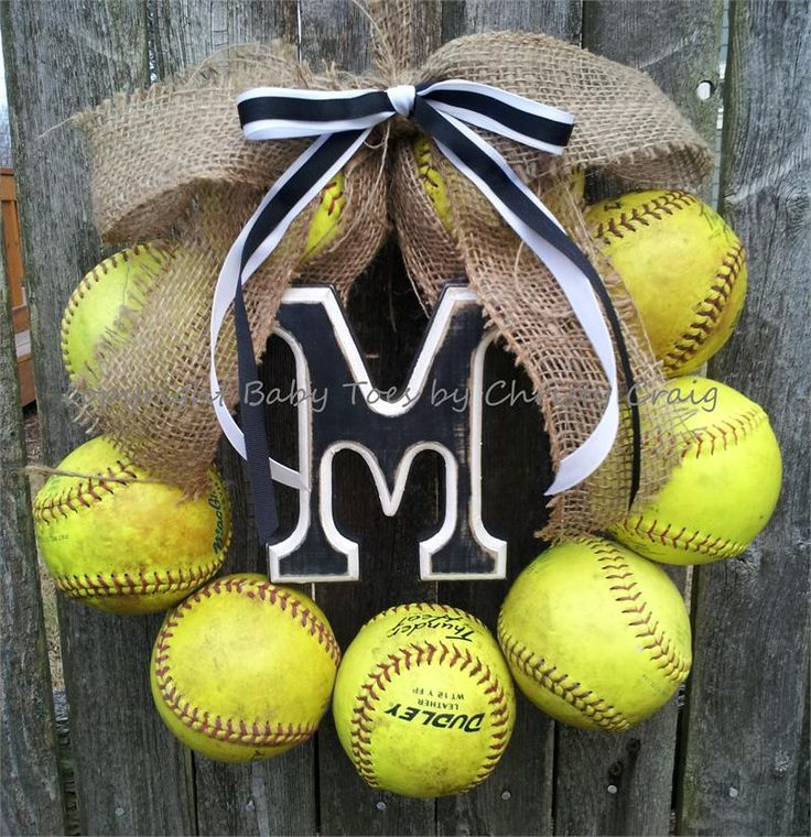 Softball Wreath with Burlap and Ribbon