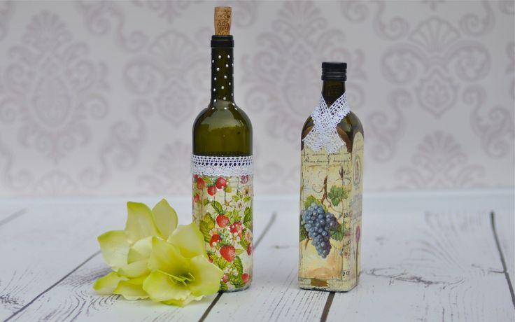 Znalezione obrazy dla zapytania butelka po winie wazon