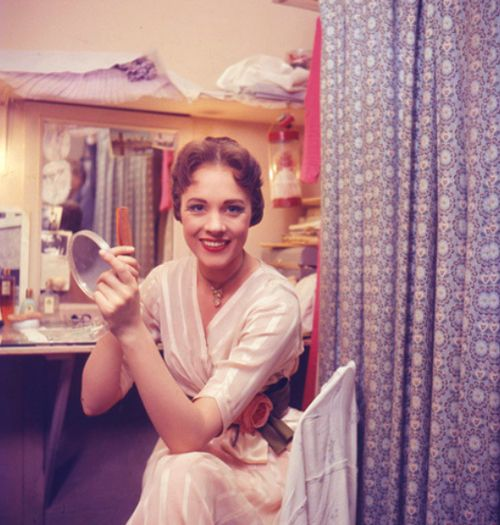 Julie Andrews backstage during the West End run of My Fair Lady.