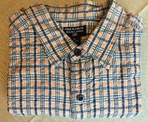 POLO-Jeans-Co-Ralph-Lauren-XL-Plaid-Seersucker-L-S-Shirt-Orange-Blue