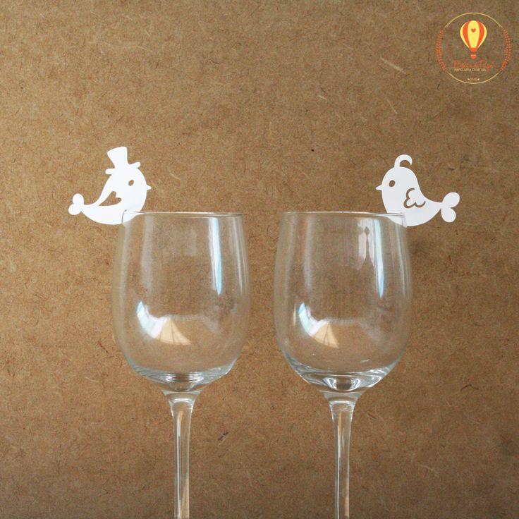 Enfeite De Taça ~ Enfeite para copo taça Passarinhos de papel Umaótima opç u00e3o para marcar os lugares dos