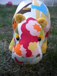 Handmade toy hippo, by stitchified.com. Pattern by Funky Friends Factory