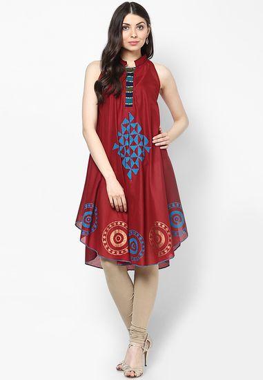 Maroon  Printed Cotton Kurti - Peppertree Kurtas & kurtis for women | buy women kurtas and kurtis online in indium