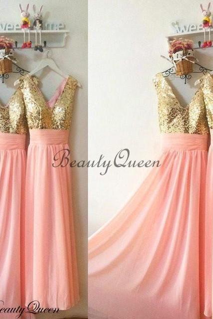8e0843156818 Coral Bridesmaid Dresses, Sequins Bridesmaid Dress,Gold Sequins Bridesmaid  Dress, Maid of honor Dress,Long Chiffon Bridesmaid Dresses,V Neck  Bridesmaid ...