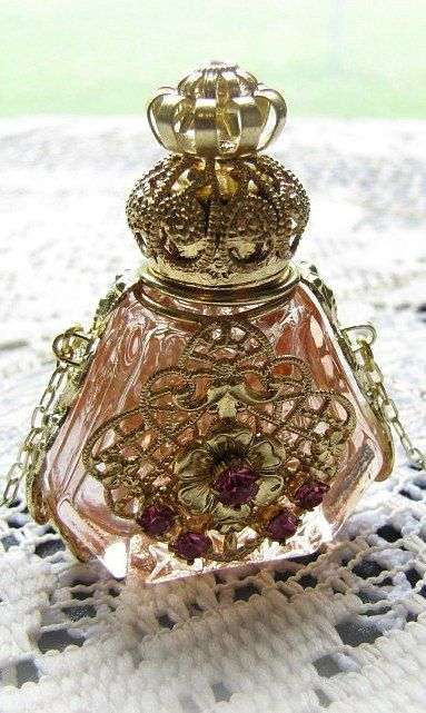 Pink Glass and Filigree Perfume Bottle