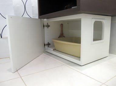Great idea (BESTA Bench, Jigsaw, Joint Compound, Sandpaper, Paint, Petsafe Plastic Door, Litter Box)
