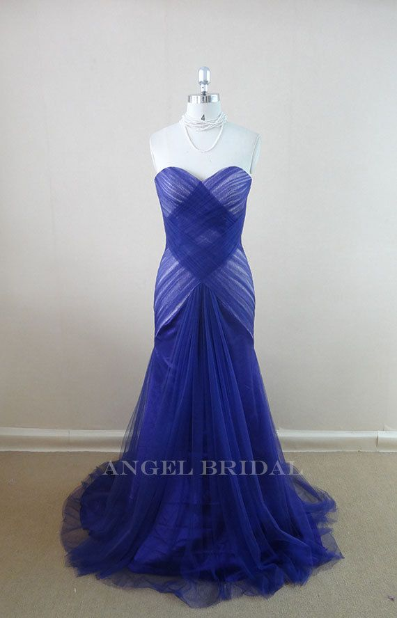 Simple Royal Blue Tulle  Mermaid  wedding dresses,Wedding Gowns,Bridal Dresses on Etsy, $189.00 silver