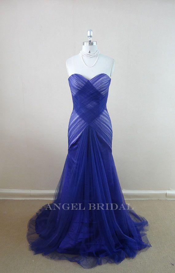 Blue Wedding Dress Simple : Simple royal blue tulle mermaid wedding dresses gowns bridal