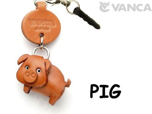Pig Animal Leather Smartphon Earphone Jack Accessory *VANCA* Made in Japan#43217