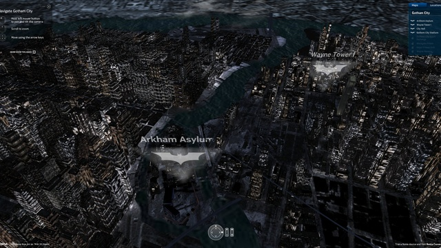 All of Gotham City in 3D (Or Traditional) Online Map Form
