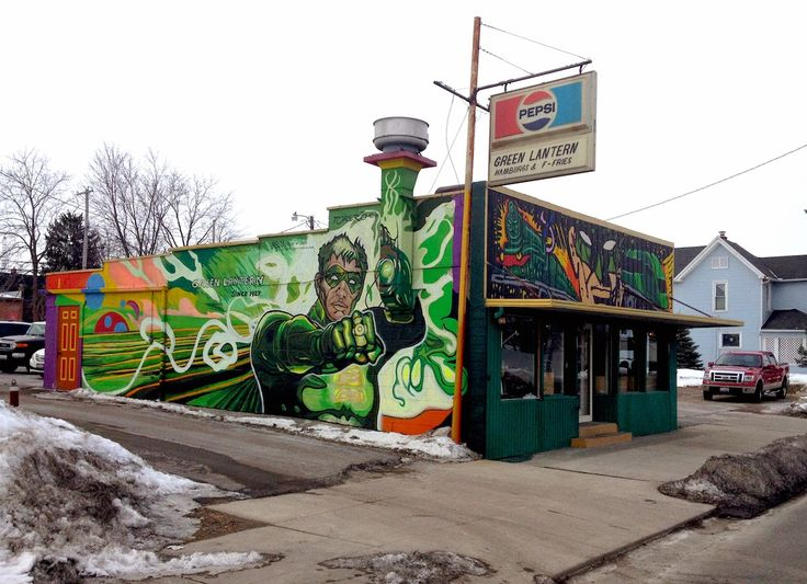 """Pizza Don't Go Bad: Since 1927 – Green Lantern Restaurant """"Hamburgs and F-Fries."""" Owned and operated by the same family since 1927,  killer graphics, and choice vittles–What else do you need to know? The Green Lantern is located at 509 Broadway Street, Toledo, Ohio."""