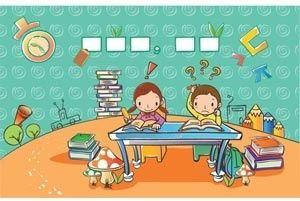 cute clip art children learning in class room vector drawing illustration