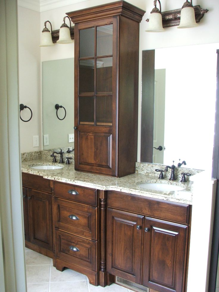 amazing work on this double vanity maximizing space for him and her custom cabinets by dixon. Black Bedroom Furniture Sets. Home Design Ideas