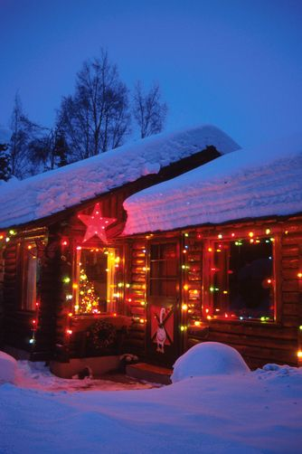 Christmas Log Cabin Alaska Christmas Beauty Peace