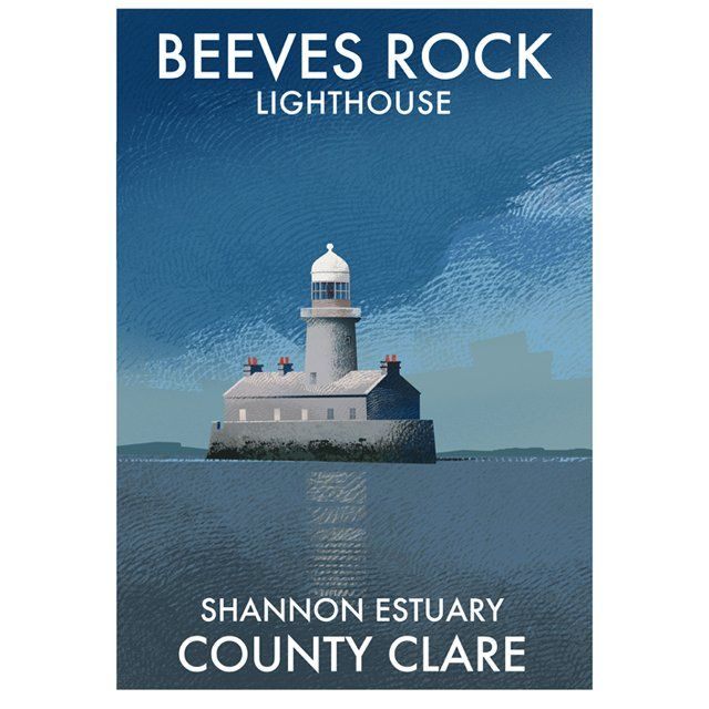 A4 or A3 print of Beeves Lighthouse on the Shannon estuary in beautiful county Clare. Printed 250g/m² art print paper Artist: Roger O'Reilly