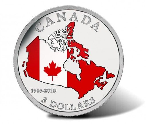 2015 $3 50th Anniversary of Canadian Flag Silver Coin