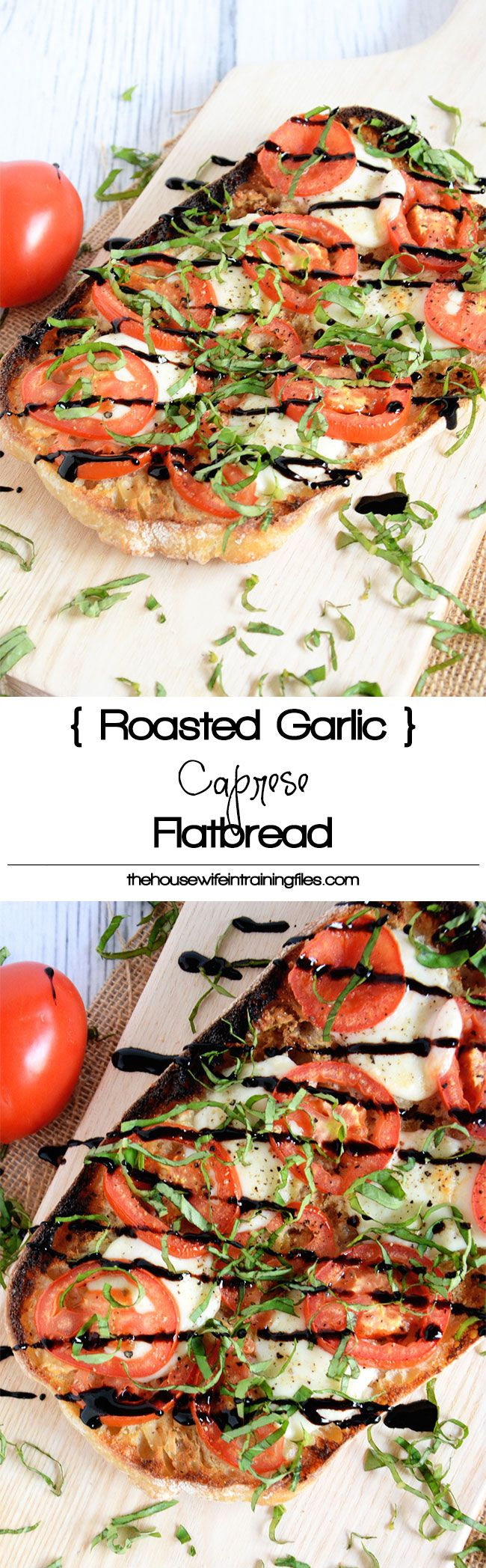 This Roasted Garlic Caprese Flatbread spices up with a loaf of Ciabatta with a roasted garlic spread, roma tomatoes, fresh mozzarella and a balsamic drizzle! A simple and quick dinner~♛