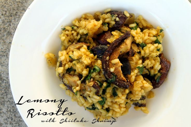 Vegan and Gluten Free Lemony Risotto with Shiitake Shrimp. It's creamy, filling, delicious, and the perfect dish to bid Summer adieu.