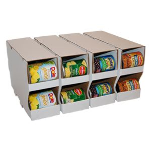 Heavy Duty Cardboard Can Organizers! 3 different sizes- from cupboard to large pantry- comes in pack of 4 $11.96- $15.96.