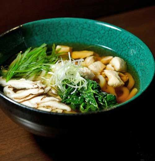 Recipe for Chicken Udon Soup - This Japanese take on chicken noodle soup is a menu favorite of New York and Boston's Haru restaurant and sushi bar. It takes less than 30 minutes to prepare, and you'll find its ingredients (such as mirin, udon, sesame oil) at a specialty asian market, or in the international aisle at your grocery store.