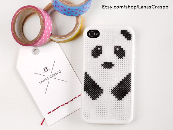 Panda Cross Stitch Case for iPhone 4 and 4S by LanasCrespo on Etsy, $30.00