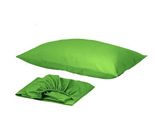 2 Pieces Twin Bed Sheets Set, 1 Fitted Sheet and 1 Pillow Case Only Organic Soft 100% Turkish Cotton Cozy Comfortable Wrinkle Fade Stain Resistant Hypoallergenic, Green