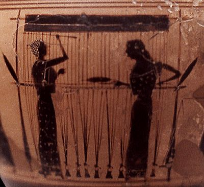 Attic C 540 Bce Women Weaving At A Loom Attributed To