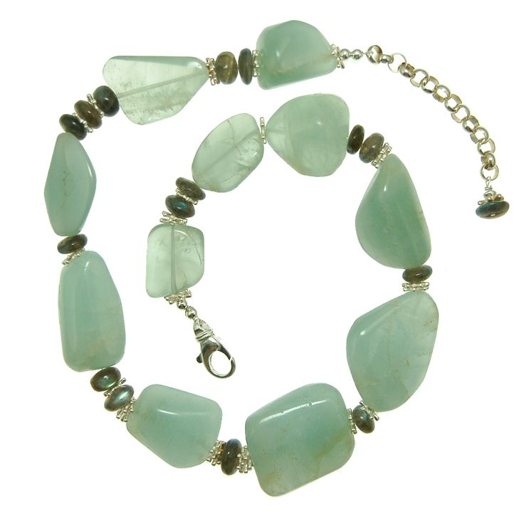 Aquamarine with Labradorite  and Sterling Silver Necklace (N1930MW) $425