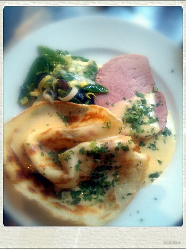 Home-made ham, savoury crepe, hollandaise...
