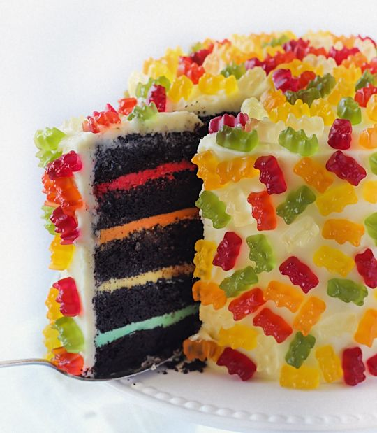 Gummy Bear Cake -- Stick gummy bears all over a cake to easily add some flair to boring vanilla icing.