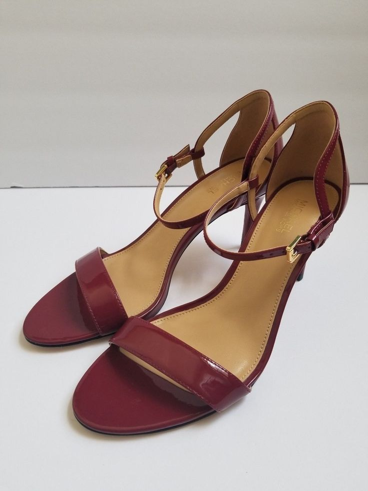 6c8e0f1c5bc New Michael Kors Red Burgundy Simone Patent Leather Strap Heels - Size 9