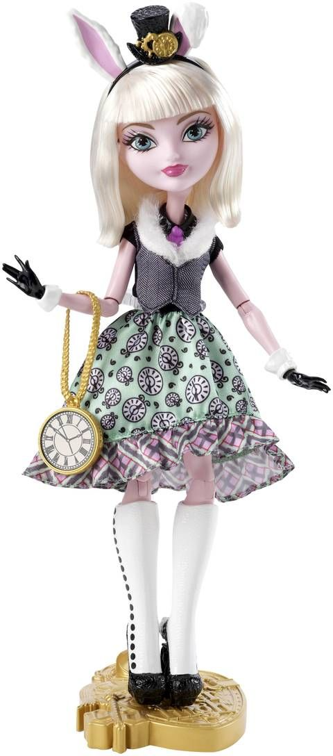 Bunny Blanc Ever After High Doll, 2015 ($20 at Shop.Mattel.com. I bought her on sale for $16.) - She is the daughter of the White Rabbit of Wonderland, and a Royal. She is looking forward to her destiny, but she's in no hurry to get there. She wears a Wonderland-inspired outfit. Her dress features a fur collar, green skirt with clock print and plaid ruffle. She also wears a pink tie, black gloves with white cuffs, carrot earrings, tall boots, clock-face purse, headband with top hat & bunny…