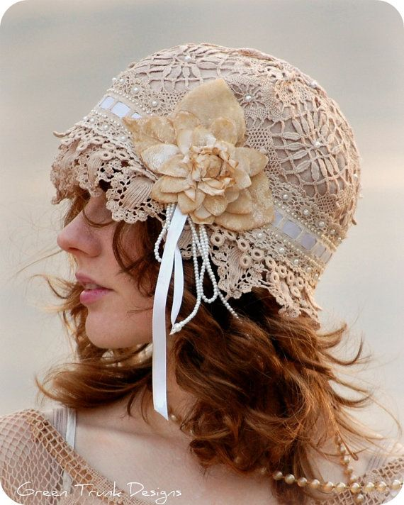 Heirloom Lace Flapper Cap  Reserved for by GreenTrunkDesigns
