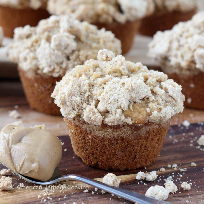 Peanut Butter Banana Muffins with Peanut Butter Streusel