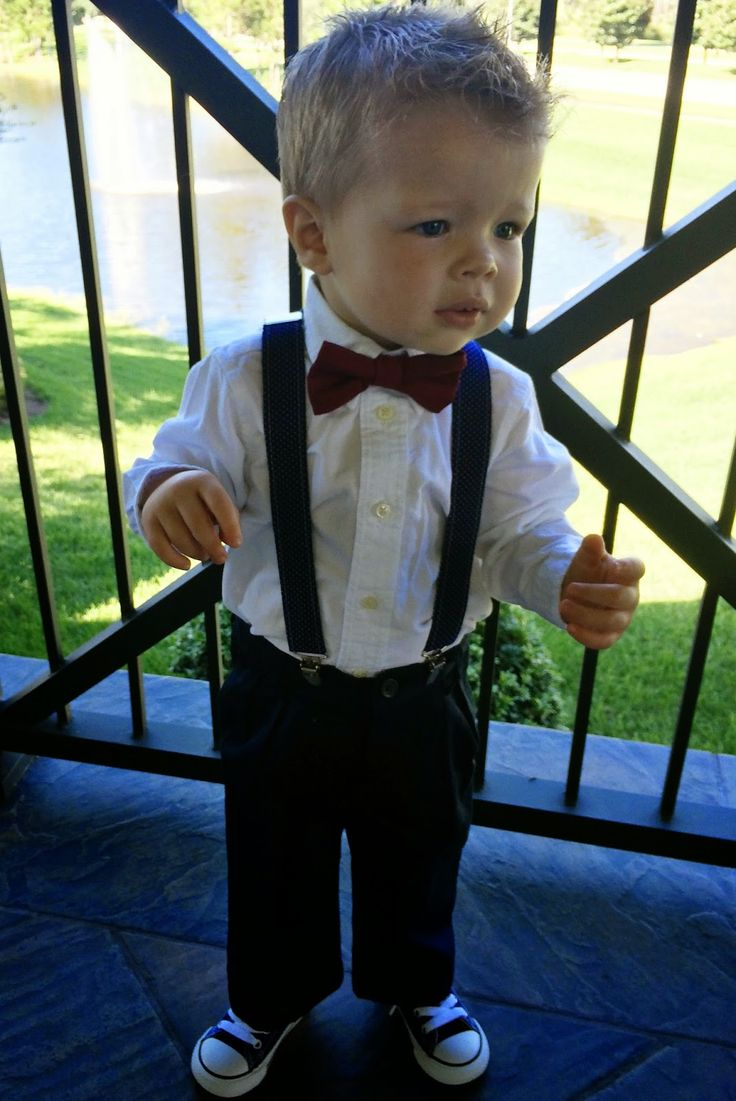 Cute. The Heathered Life: My Baby Sister's Wedding Ring Bearer, Bow tie, Suspenders, Converse