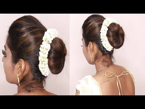 South Indian Wedding Guest Hairstyles Tamil Puff With Bun Hairstyles Puff Hairstyle Tricks Youtu Hair Puff Indian Bun Hairstyles Wedding Guest Hairstyles