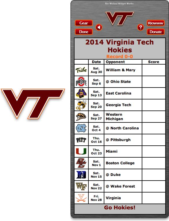 Free 2014 Virginia Tech Hokies Football Schedule Widget - Go Hokies!  http://riowww.com/teamPages/Virginia_Tech_Hokies.htm