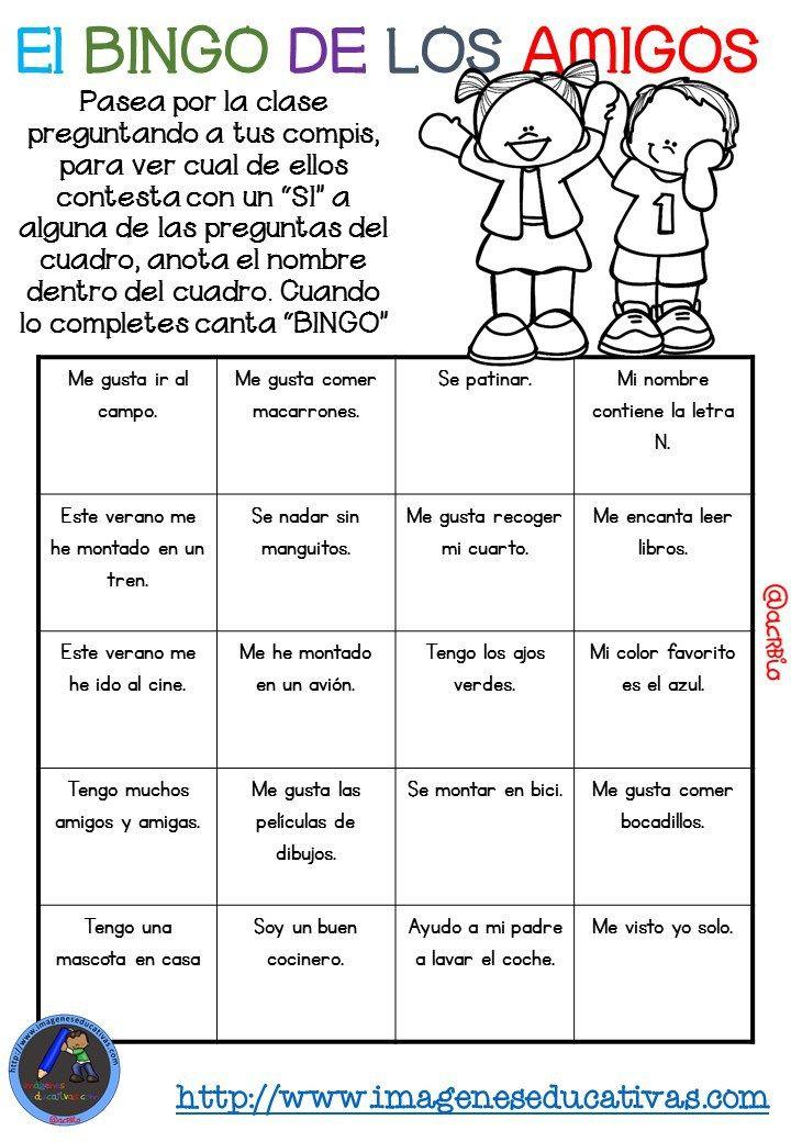 """Actividad para los primeros días de clase """"El BINGO DE LOS AMIGOS"""" (11)"""