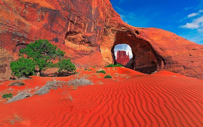 Herunterladen hintergrundbild roter sand, felsen, wüste, monument valley, utah, usa, berge