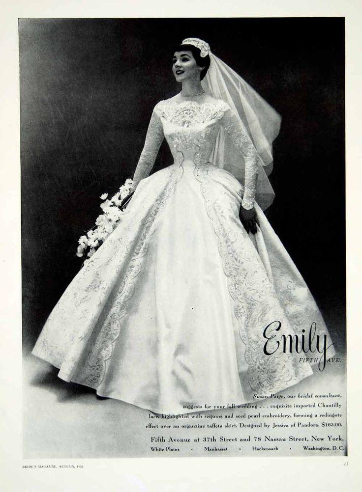 1956 Ad Vintage Taffeta Wedding Dress Jessica Pandora Chantilly Lace YBSM1 - Period Paper
