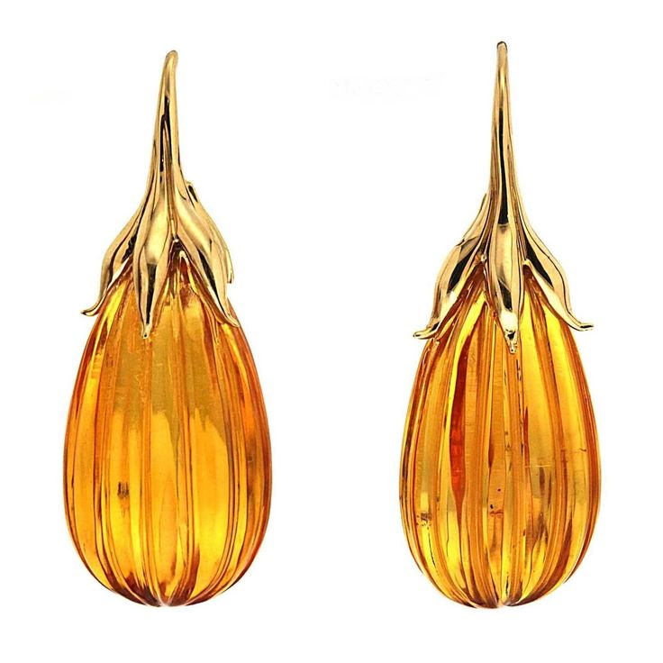 Amber drop Earrings with gold French Hook | From a unique collection of vintage drop earrings at https://www.1stdibs.com/jewelry/earrings/drop-earrings/