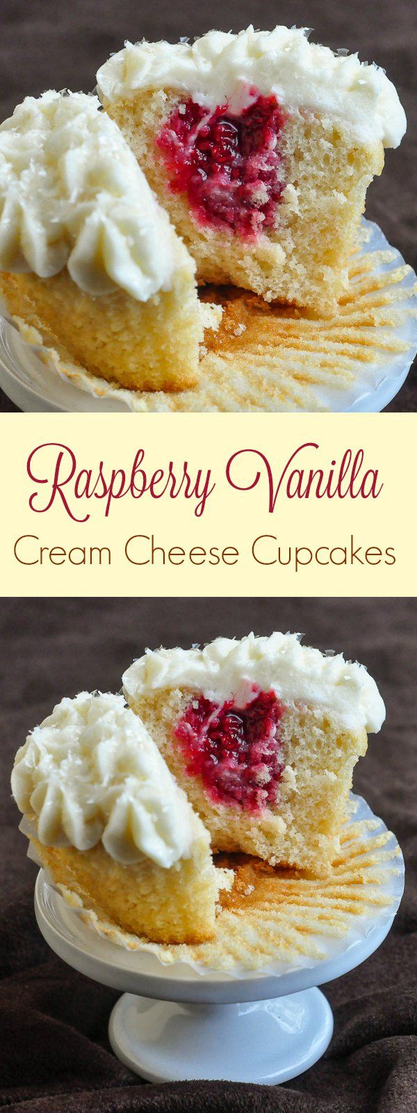 One of our most popular recipes, these raspberry vanilla cream cheese cupcakes are moist & delicious with a tart filling and luscious cream cheese frosting.                                                                                                                                                     More